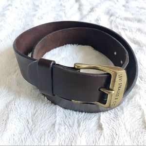 Levi's Belt Gold Buckle Brown Leather M